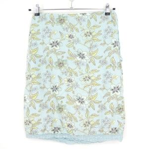 The Limited Floral Linen Lace Trim Skirt  (B18)